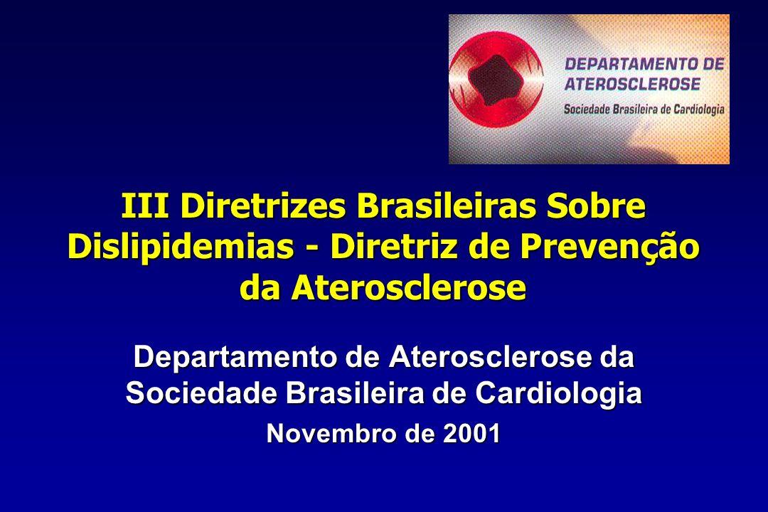 Uso de inibidores da ECAUso de inibidores da ECA –Para pacientes de prevenção secundária e para pacientes diabéticos com algum outro fator de risco (HOPE) Terapia de reposição hormonal após a menopausaTerapia de reposição hormonal após a menopausa –Prevenção secundária- NÃO –Prevenção Primária- se indicação ginecológica como terapia adjuvante para dislipidemia Terapia Farmacológica III Diretrizes Brasileiras Sobre Dislipidemias- Prevenção da Aterosclerose