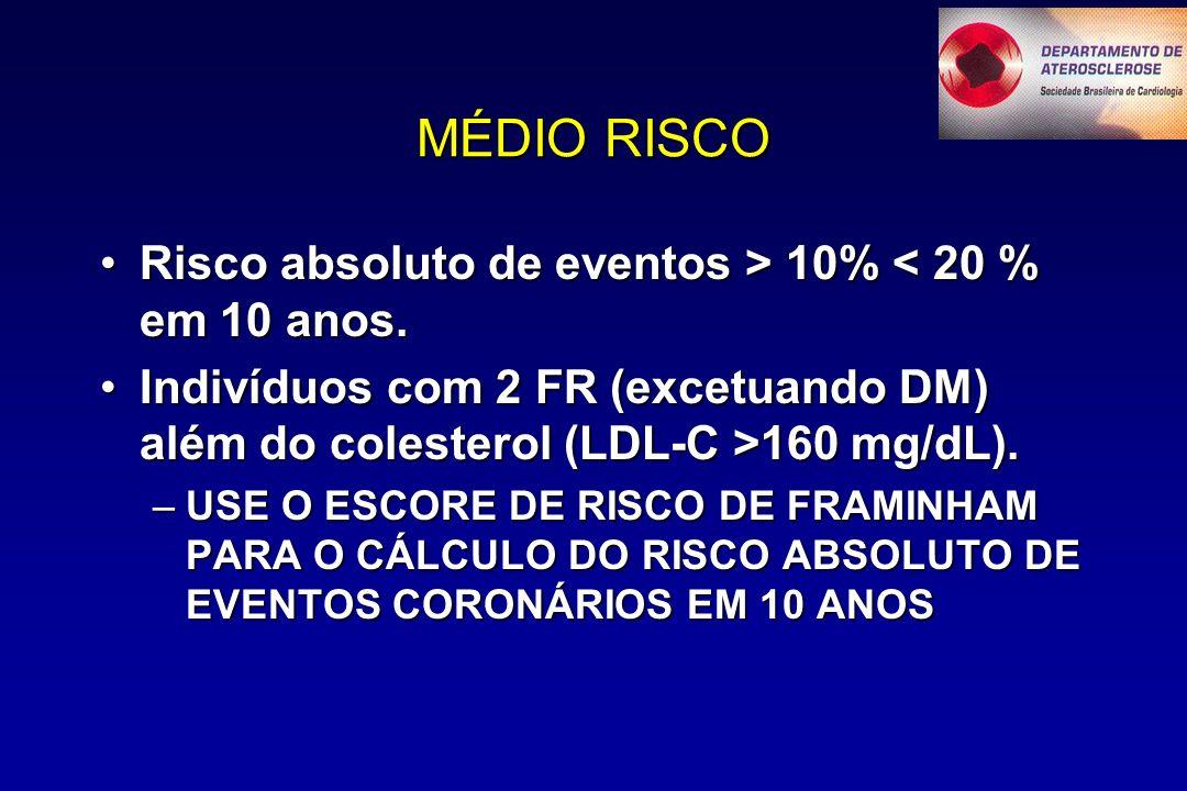 MÉDIO RISCO Risco absoluto de eventos > 10% 10% < 20 % em 10 anos.