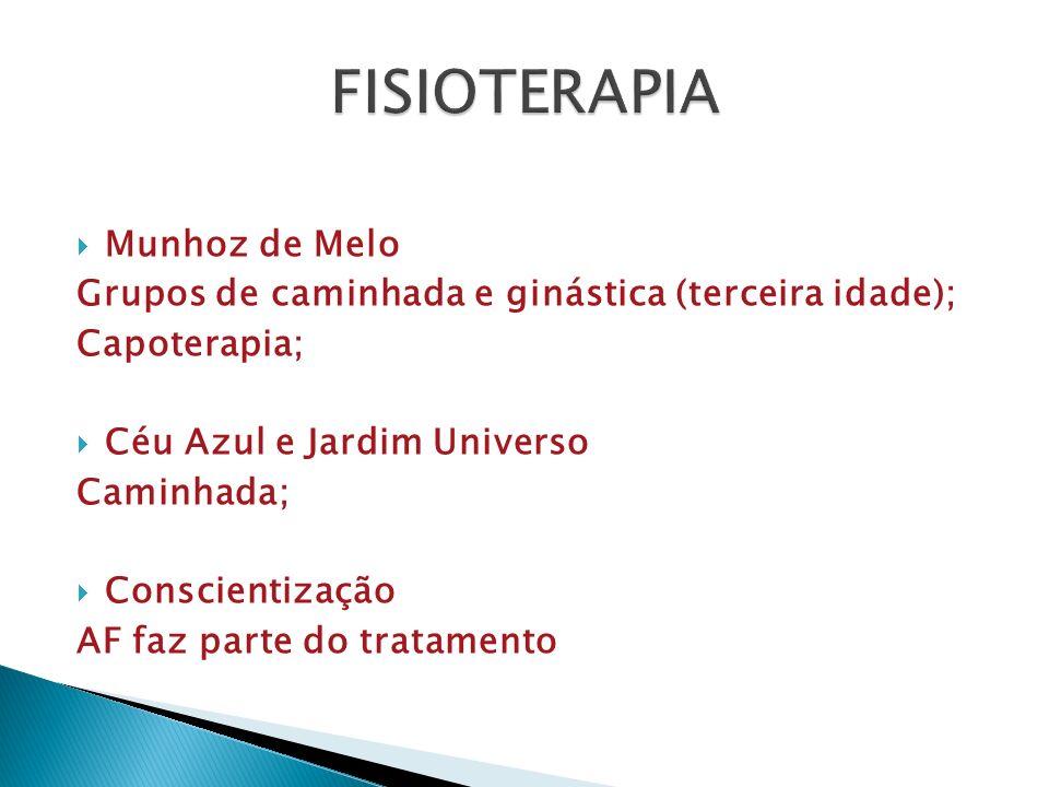  Munhoz de Melo Grupos de caminhada e ginástica (terceira idade); Capoterapia;  Céu Azul e Jardim Universo Caminhada;  Conscientização AF faz parte do tratamento