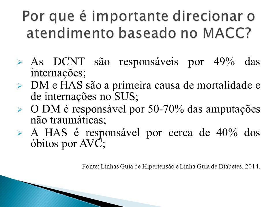  As DCNT são responsáveis por 49% das internações;  DM e HAS são a primeira causa de mortalidade e de internações no SUS;  O DM é responsável por 50-70% das amputações não traumáticas;  A HAS é responsável por cerca de 40% dos óbitos por AVC; Fonte: Linhas Guia de Hipertensão e Linha Guia de Diabetes, 2014.