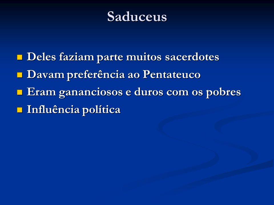 Saduceus Deles faziam parte muitos sacerdotes Deles faziam parte muitos sacerdotes Davam preferência ao Pentateuco Davam preferência ao Pentateuco Eram gananciosos e duros com os pobres Eram gananciosos e duros com os pobres Influência política Influência política