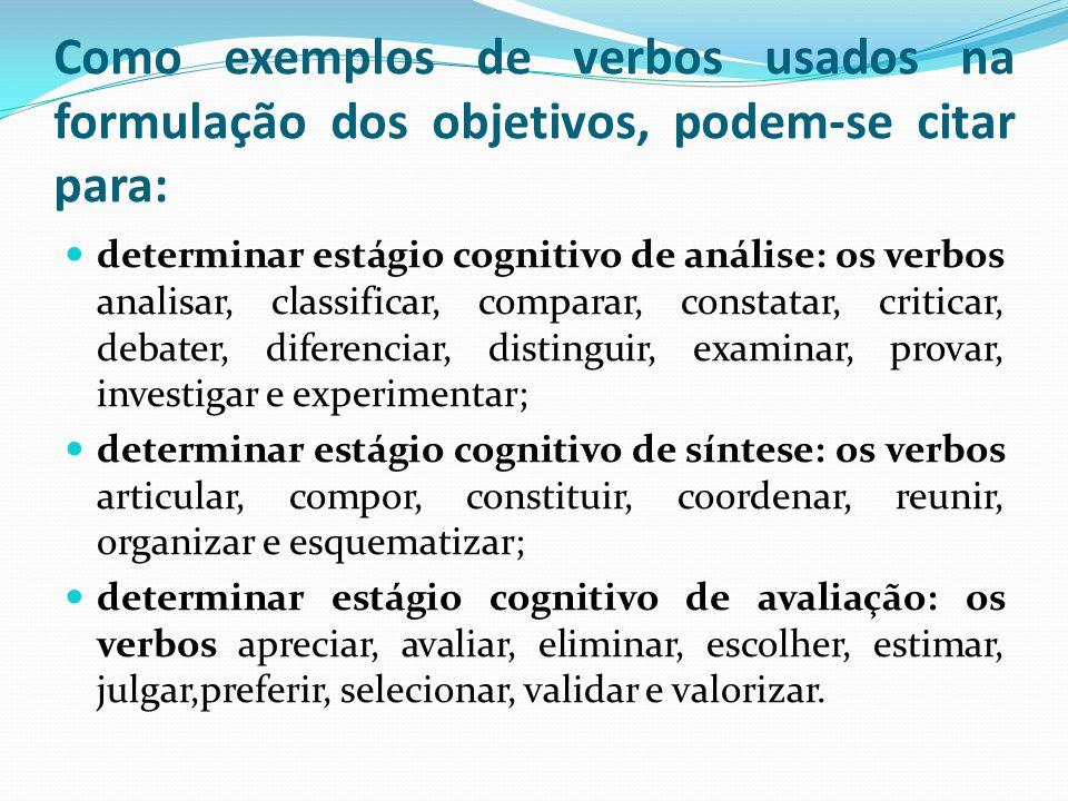 Como exemplos de verbos usados na formulação dos objetivos, podem-se citar para: determinar estágio cognitivo de análise: os verbos analisar, classificar, comparar, constatar, criticar, debater, diferenciar, distinguir, examinar, provar, investigar e experimentar; determinar estágio cognitivo de síntese: os verbos articular, compor, constituir, coordenar, reunir, organizar e esquematizar; determinar estágio cognitivo de avaliação: os verbos apreciar, avaliar, eliminar, escolher, estimar, julgar,preferir, selecionar, validar e valorizar.
