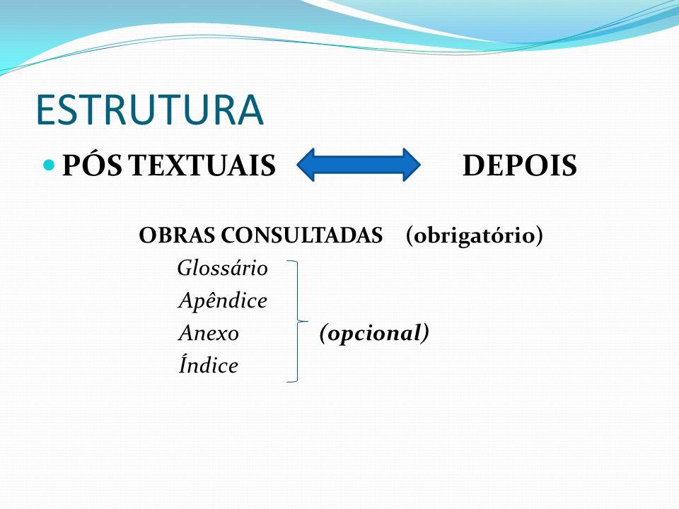 PÓS TEXTUAIS DEPOIS OBRAS CONSULTADAS (obrigatório) Glossário Apêndice Anexo (opcional) Índice