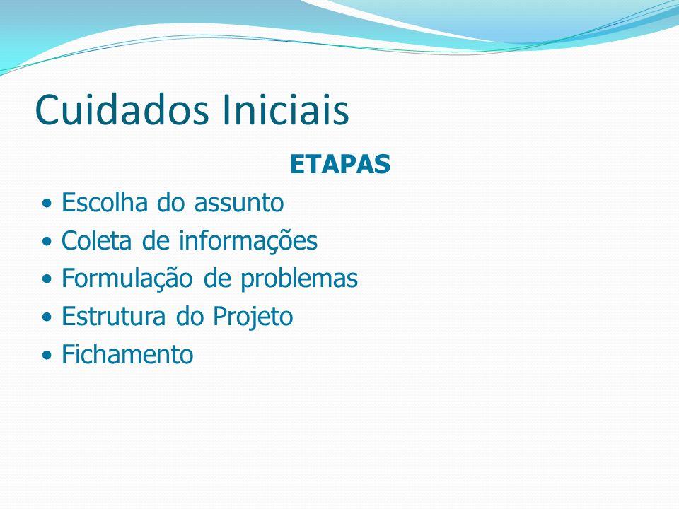 Cuidados Iniciais ETAPAS Escolha do assunto Coleta de informações Formulação de problemas Estrutura do Projeto Fichamento