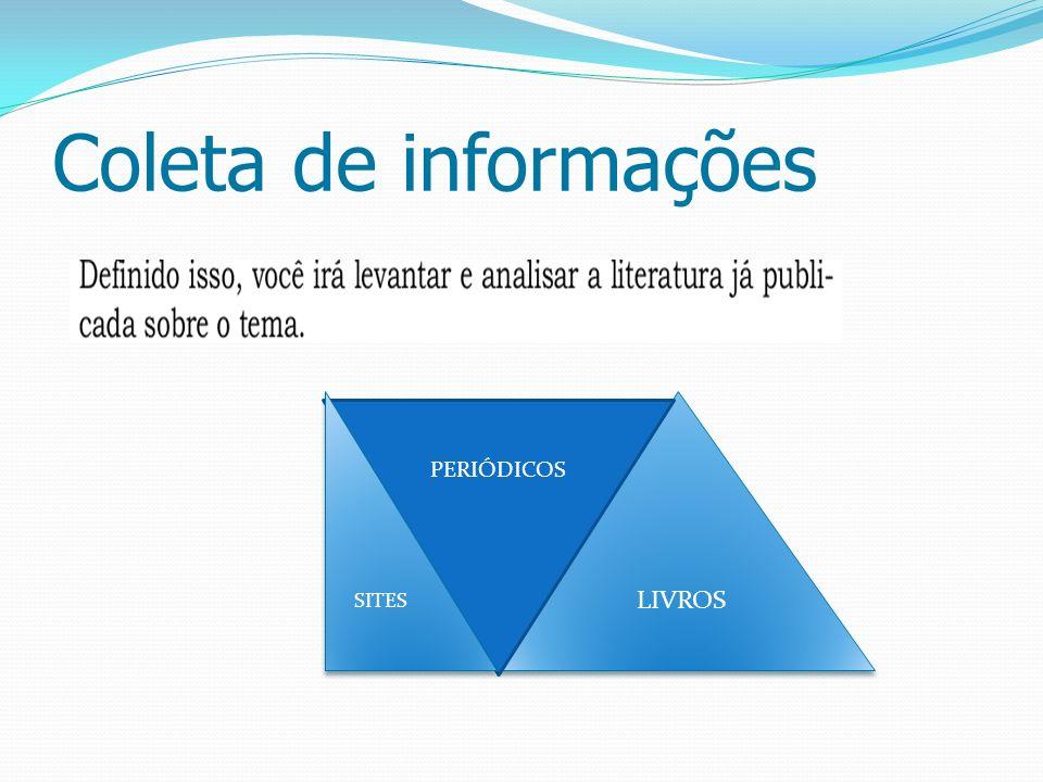 Coleta de informações LIVROS PERIÓDICOS SITES