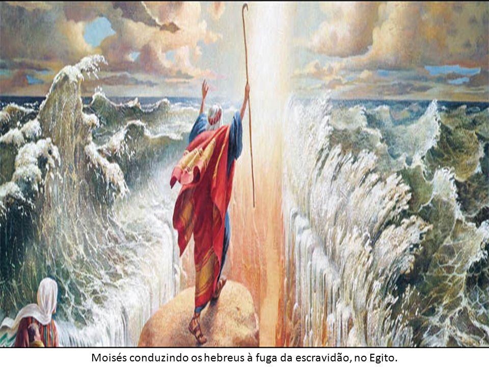 Moisés conduzindo os hebreus à fuga da escravidão, no Egito.
