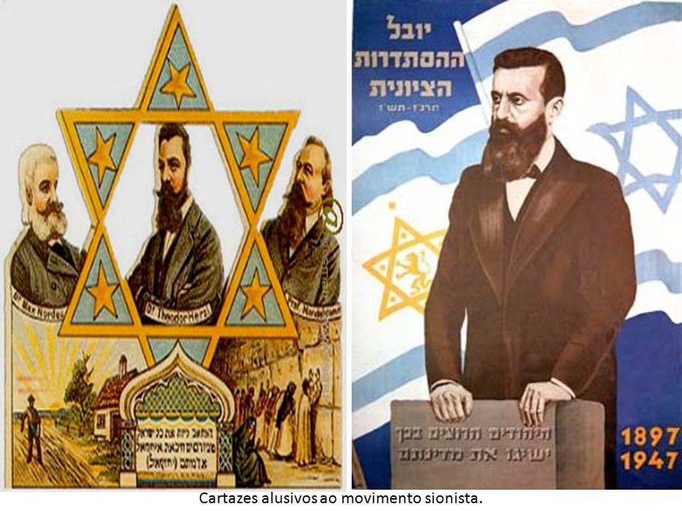Cartazes alusivos ao movimento sionista.