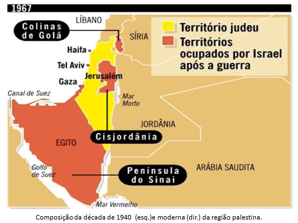 Composição da década de 1940 (esq.)e moderna (dir.) da região palestina.