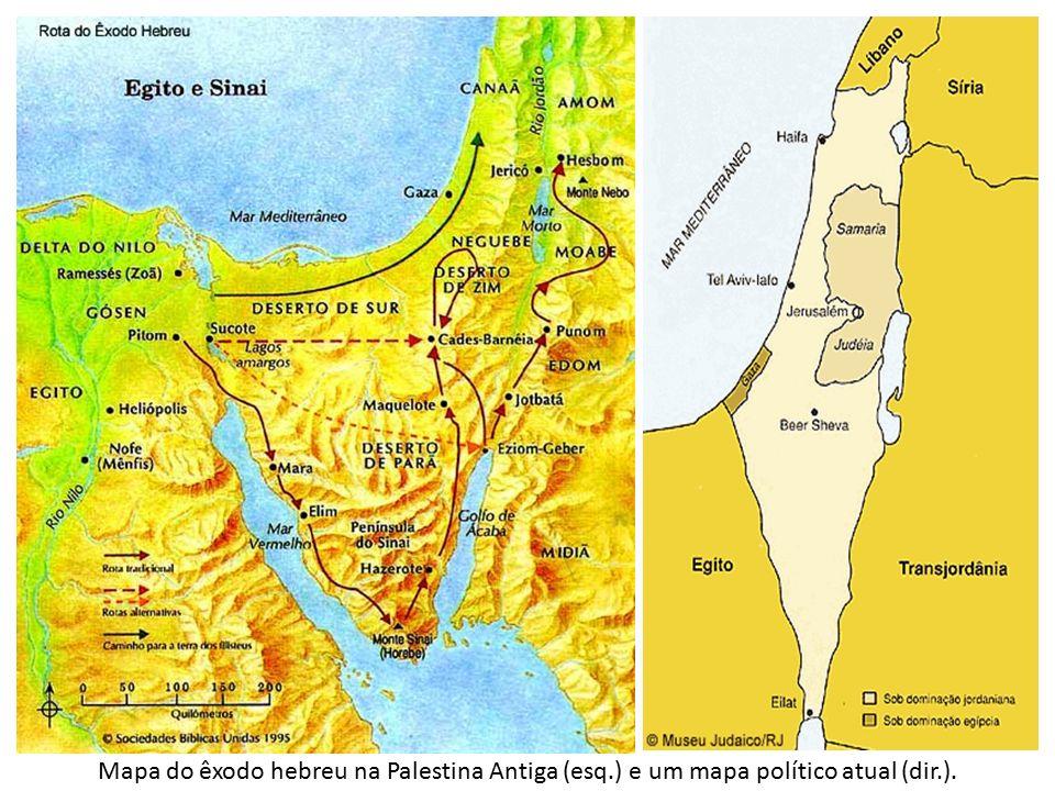 Mapa do êxodo hebreu na Palestina Antiga (esq.) e um mapa político atual (dir.).
