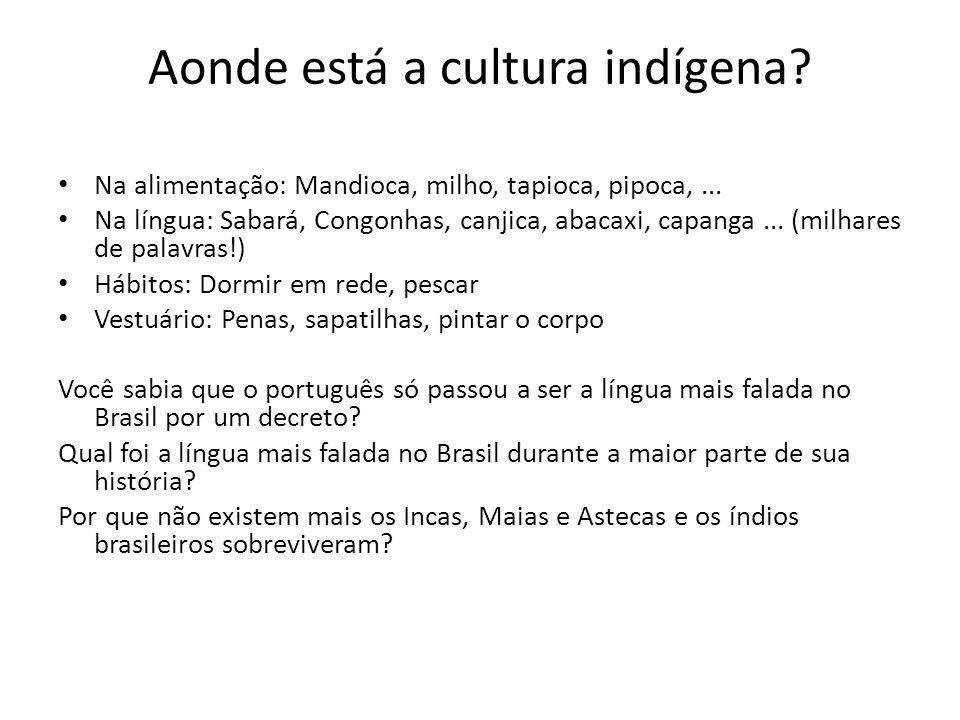 Aonde está a cultura indígena. Na alimentação: Mandioca, milho, tapioca, pipoca,...