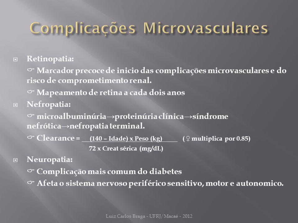  Retinopatia:  Marcador precoce de inicio das complicações microvasculares e do risco de comprometimento renal.