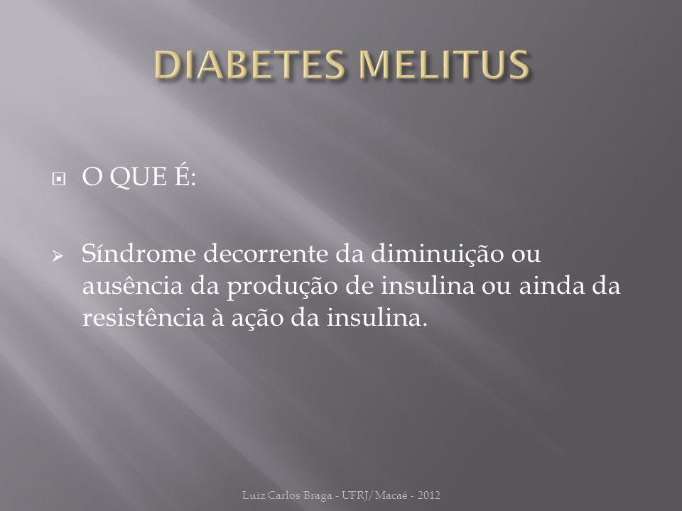  O QUE É:  Síndrome decorrente da diminuição ou ausência da produção de insulina ou ainda da resistência à ação da insulina.