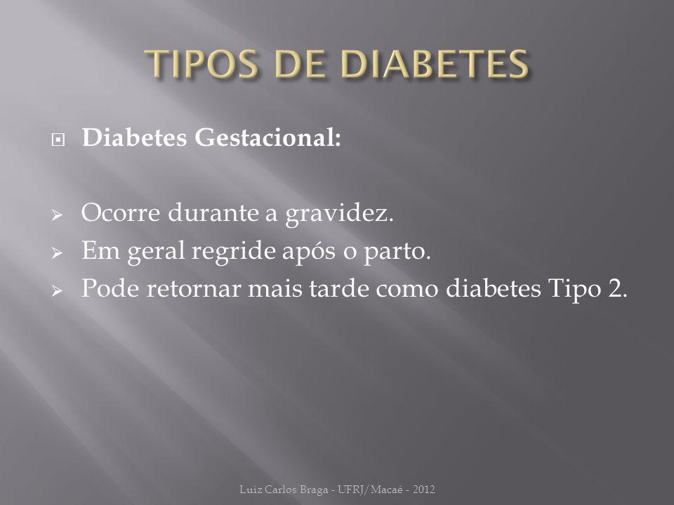  Diabetes Gestacional:  Ocorre durante a gravidez.