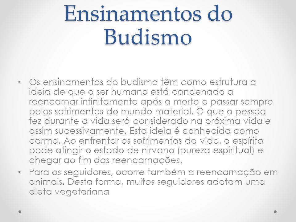 Ensinamentos do Budismo Os ensinamentos do budismo têm como estrutura a ideia de que o ser humano está condenado a reencarnar infinitamente após a morte e passar sempre pelos sofrimentos do mundo material.