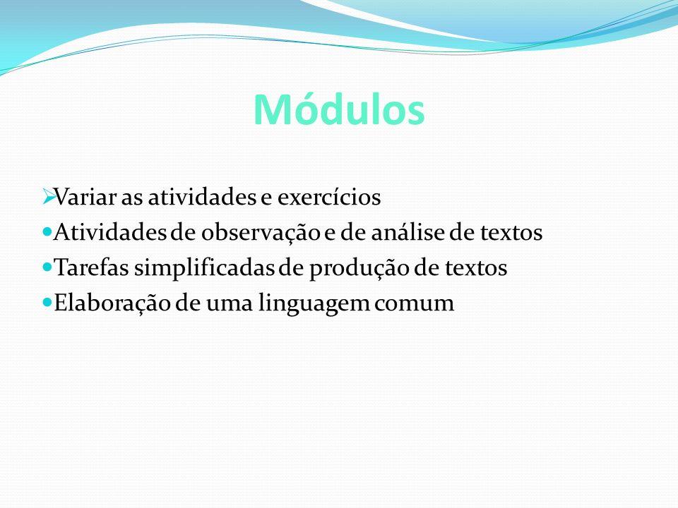 Módulos  Variar as atividades e exercícios Atividades de observação e de análise de textos Tarefas simplificadas de produção de textos Elaboração de uma linguagem comum