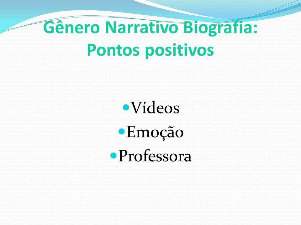Gênero Narrativo Biografia: Pontos positivos Vídeos Emoção Professora