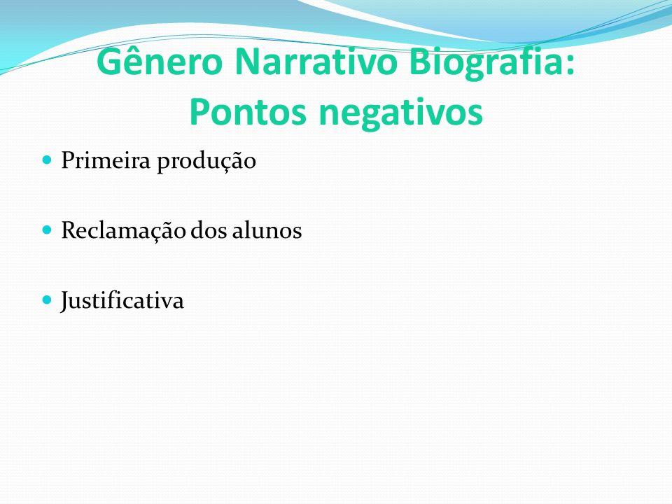 Gênero Narrativo Biografia: Pontos negativos Primeira produção Reclamação dos alunos Justificativa