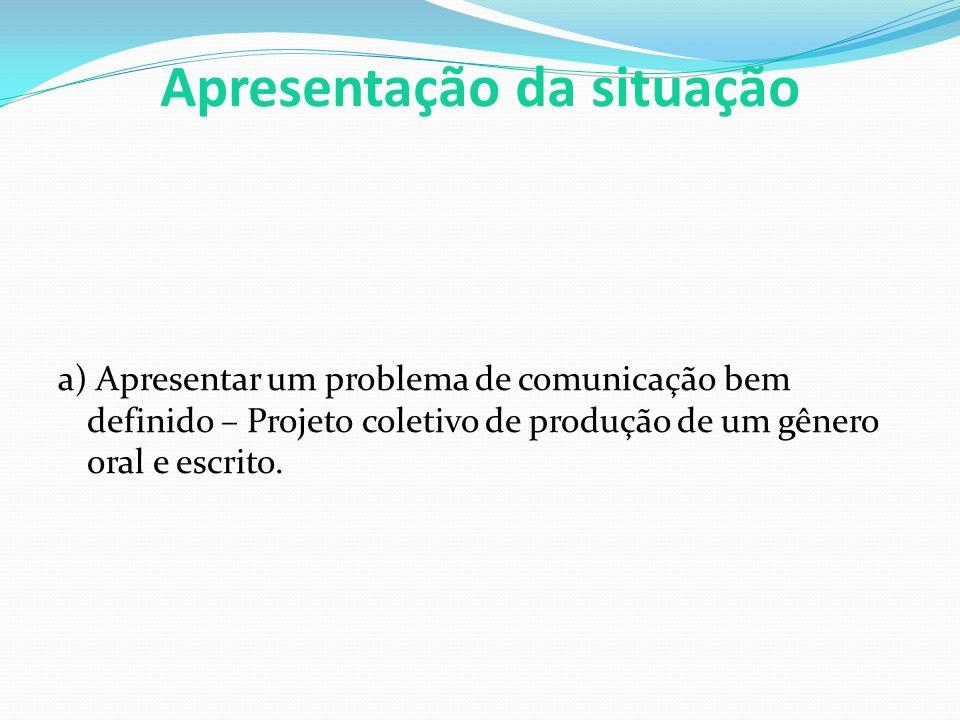Apresentação da situação a) Apresentar um problema de comunicação bem definido – Projeto coletivo de produção de um gênero oral e escrito.
