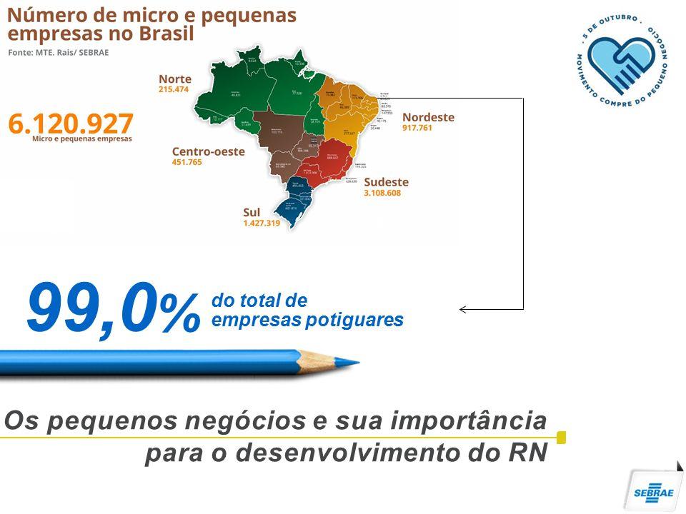 Os pequenos negócios e sua importância para o desenvolvimento do RN 99,0 % do total de empresas potiguares