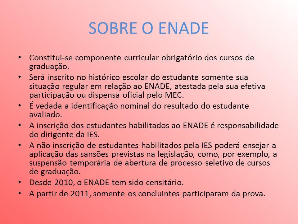SOBRE O ENADE Constitui-se componente curricular obrigatório dos cursos de graduação.