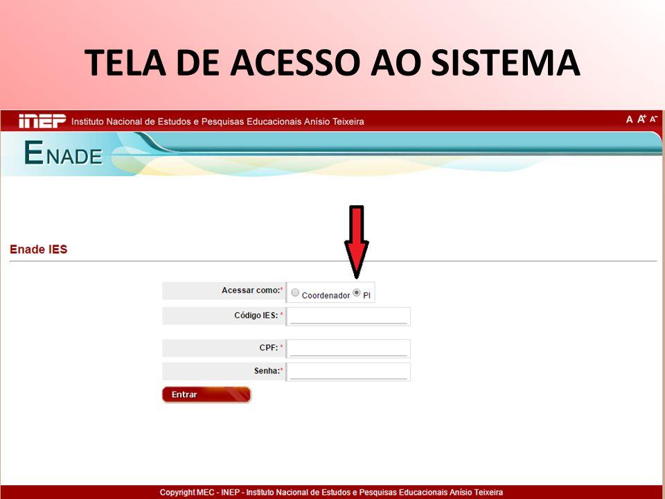 TELA DE ACESSO AO SISTEMA