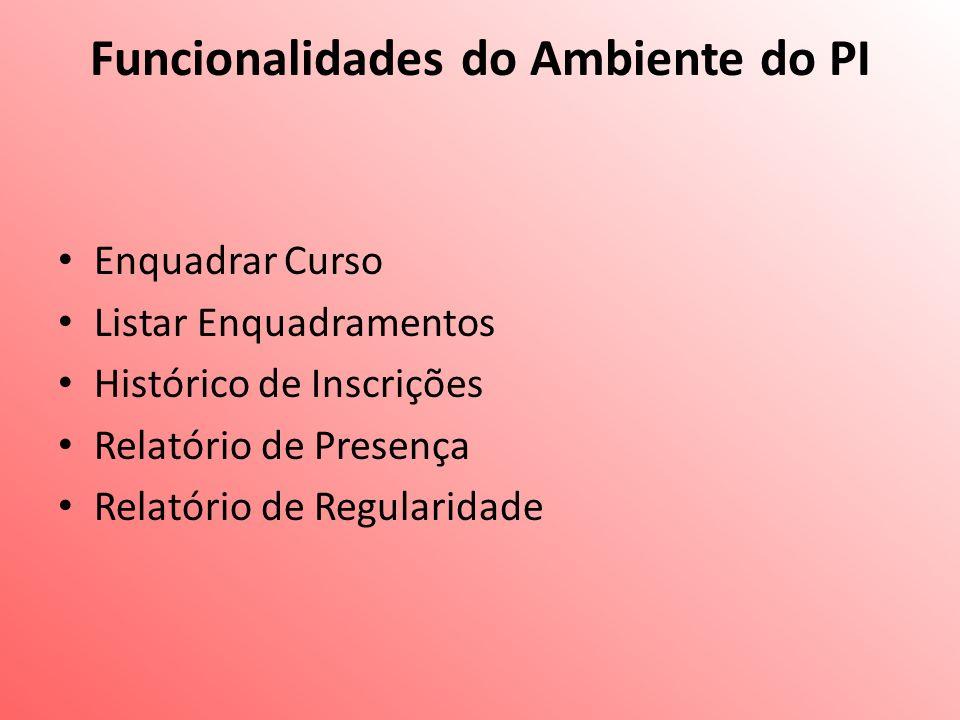 Funcionalidades do Ambiente do PI Enquadrar Curso Listar Enquadramentos Histórico de Inscrições Relatório de Presença Relatório de Regularidade