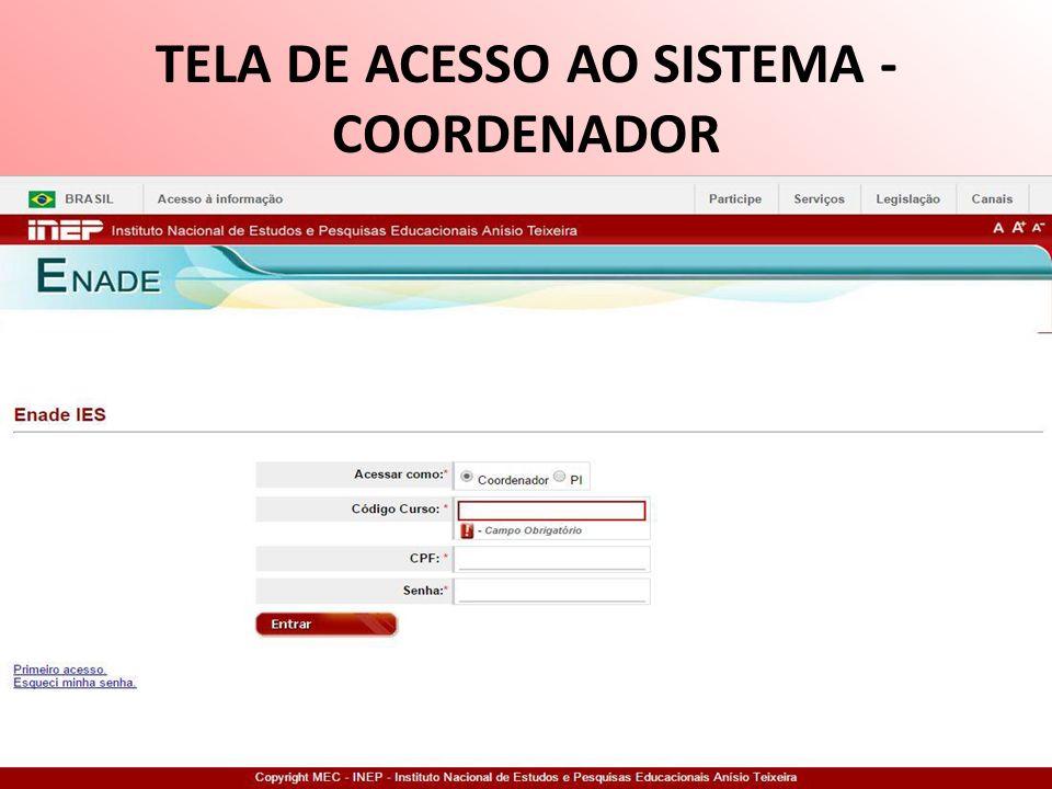 TELA DE ACESSO AO SISTEMA - COORDENADOR