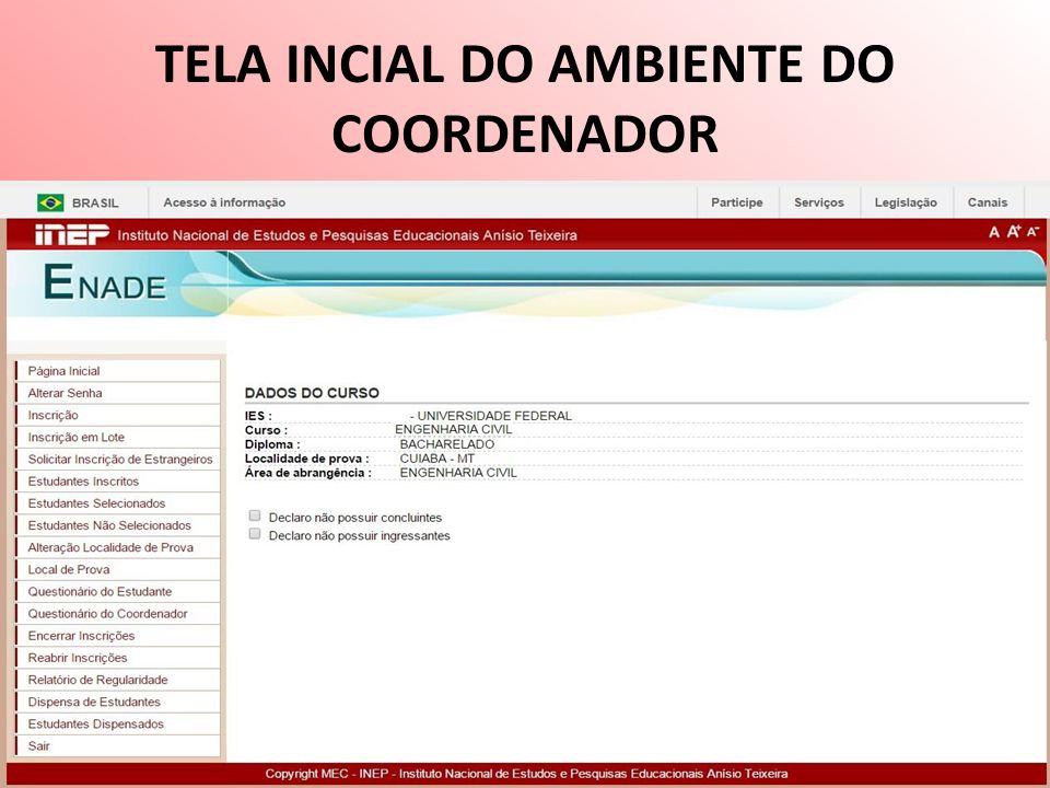 TELA INCIAL DO AMBIENTE DO COORDENADOR