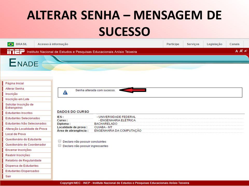 ALTERAR SENHA – MENSAGEM DE SUCESSO