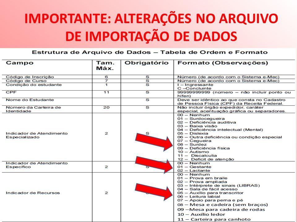IMPORTANTE: ALTERAÇÕES NO ARQUIVO DE IMPORTAÇÃO DE DADOS