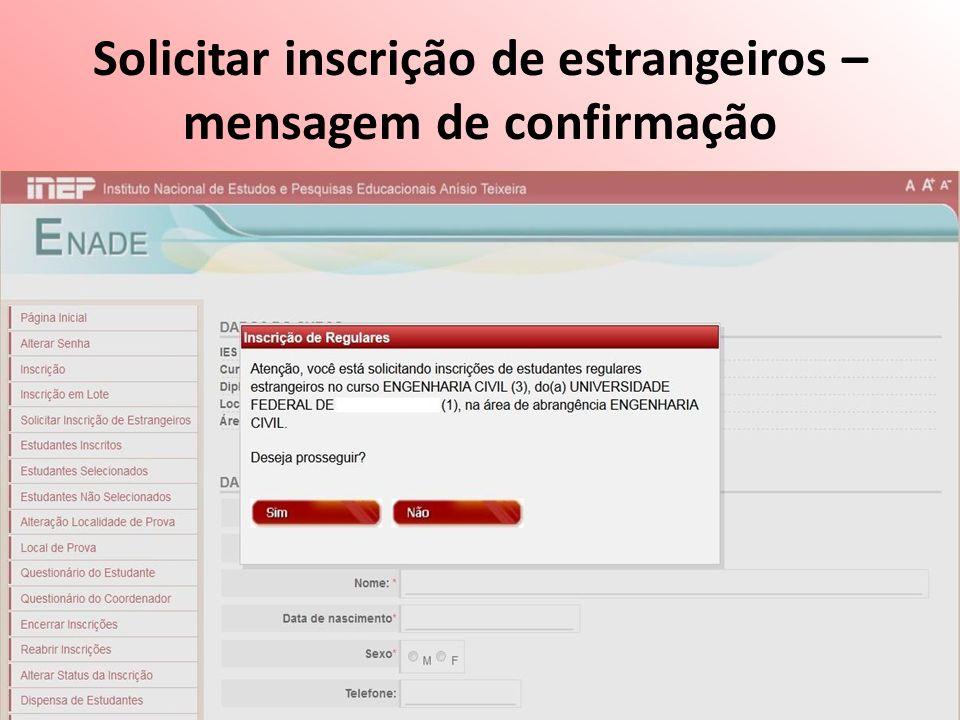 Solicitar inscrição de estrangeiros – mensagem de confirmação
