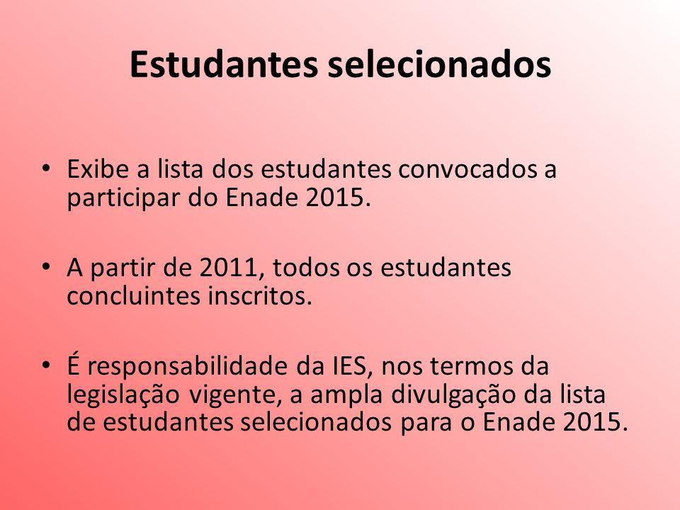 Estudantes selecionados Exibe a lista dos estudantes convocados a participar do Enade 2015.