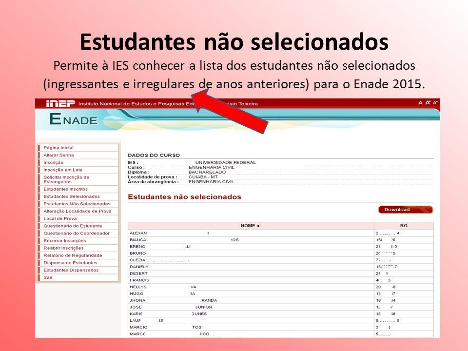 Estudantes não selecionados Permite à IES conhecer a lista dos estudantes não selecionados (ingressantes e irregulares de anos anteriores) para o Enade 2015.