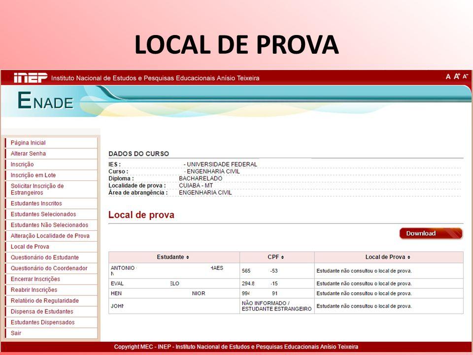 LOCAL DE PROVA