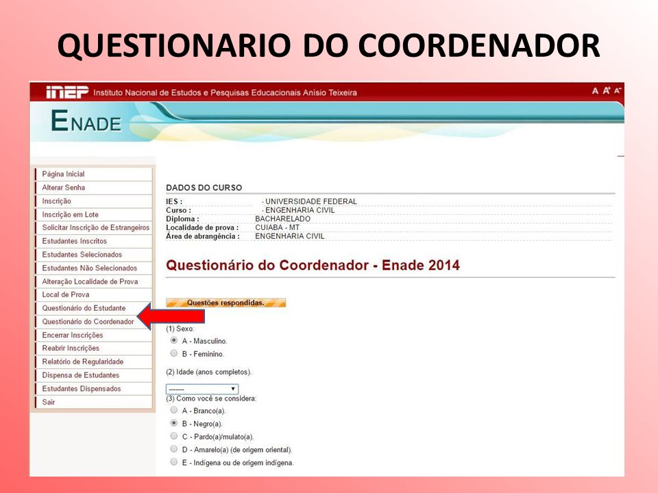 QUESTIONARIO DO COORDENADOR