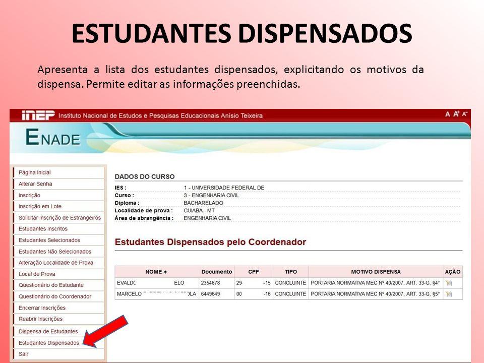 ESTUDANTES DISPENSADOS Apresenta a lista dos estudantes dispensados, explicitando os motivos da dispensa.