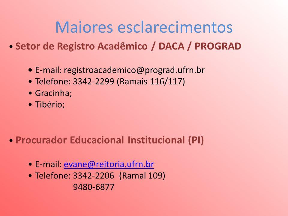 Maiores esclarecimentos Setor de Registro Acadêmico / DACA / PROGRAD E-mail: registroacademico@prograd.ufrn.br Telefone: 3342-2299 (Ramais 116/117) Gracinha; Tibério; Procurador Educacional Institucional (PI) E-mail: evane@reitoria.ufrn.brevane@reitoria.ufrn.br Telefone: 3342-2206 (Ramal 109) 9480-6877