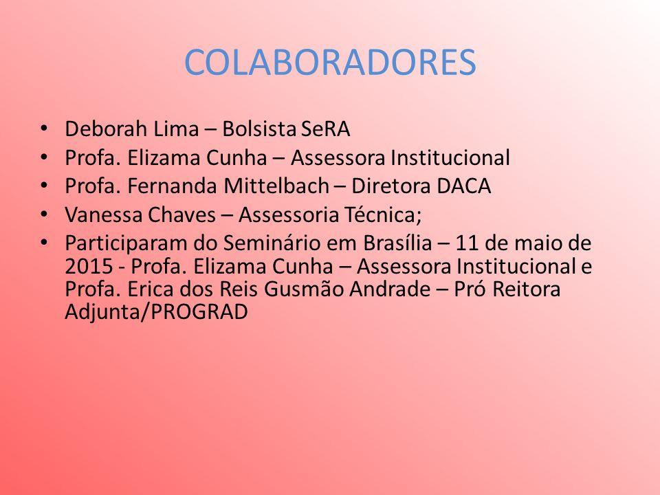 COLABORADORES Deborah Lima – Bolsista SeRA Profa. Elizama Cunha – Assessora Institucional Profa.