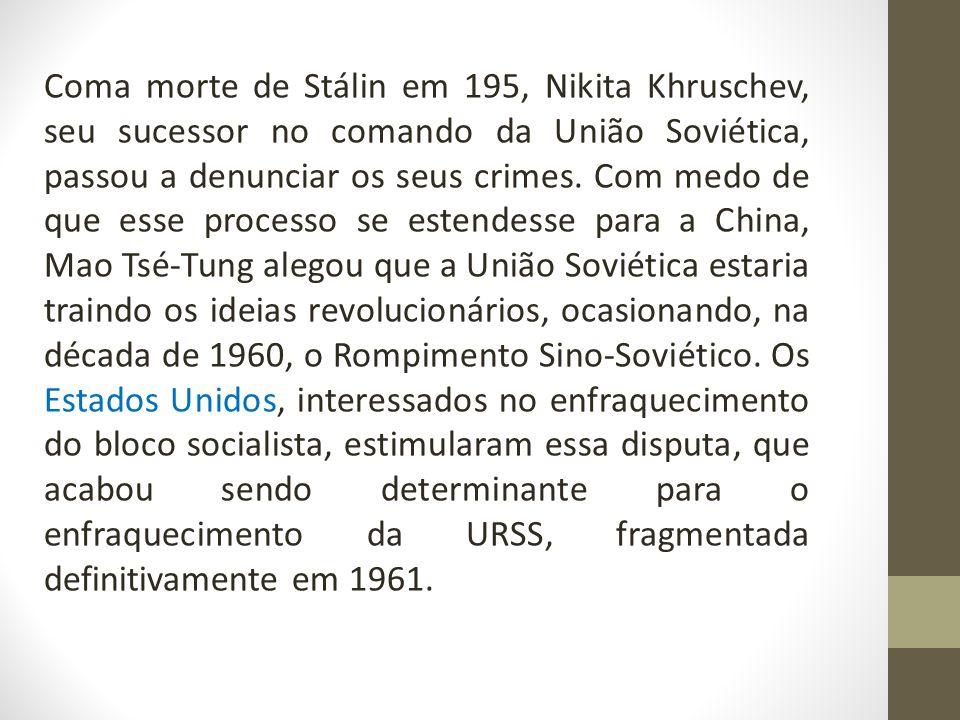 Coma morte de Stálin em 195, Nikita Khruschev, seu sucessor no comando da União Soviética, passou a denunciar os seus crimes.