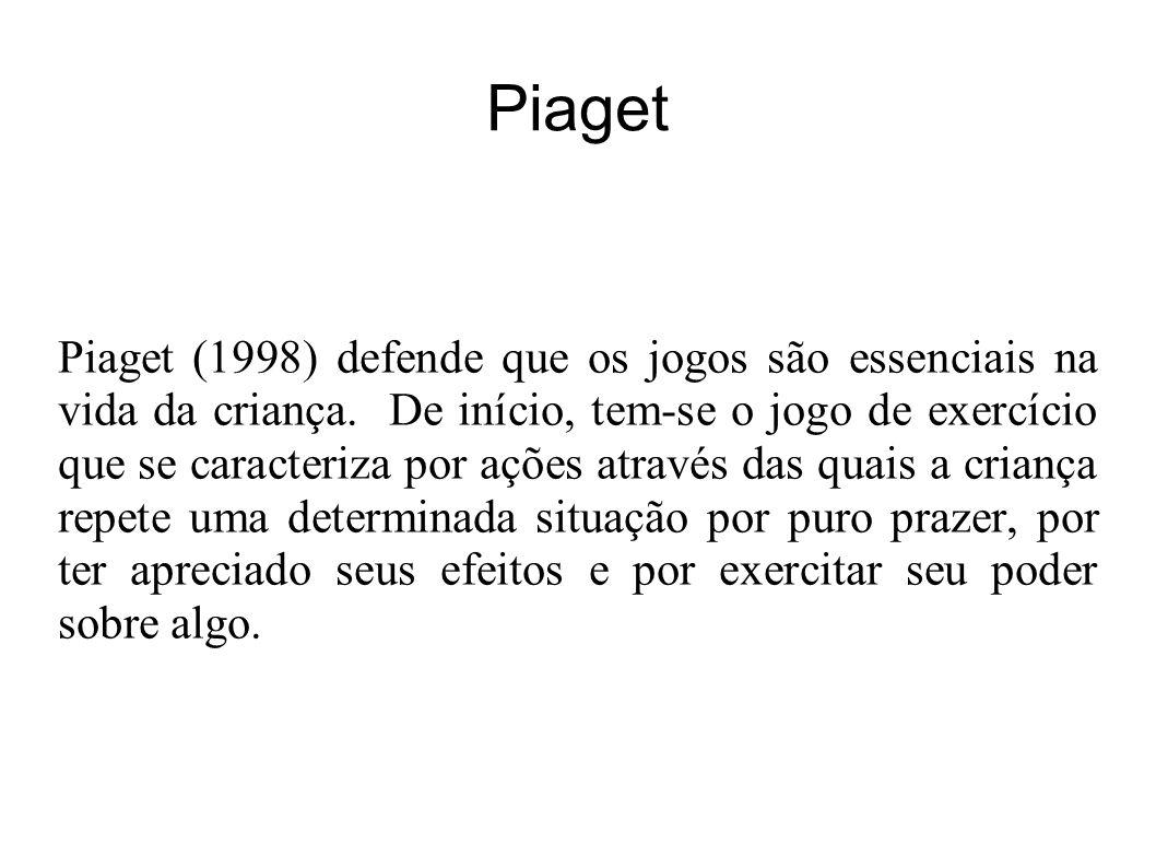Piaget Piaget (1998) defende que os jogos são essenciais na vida da criança.