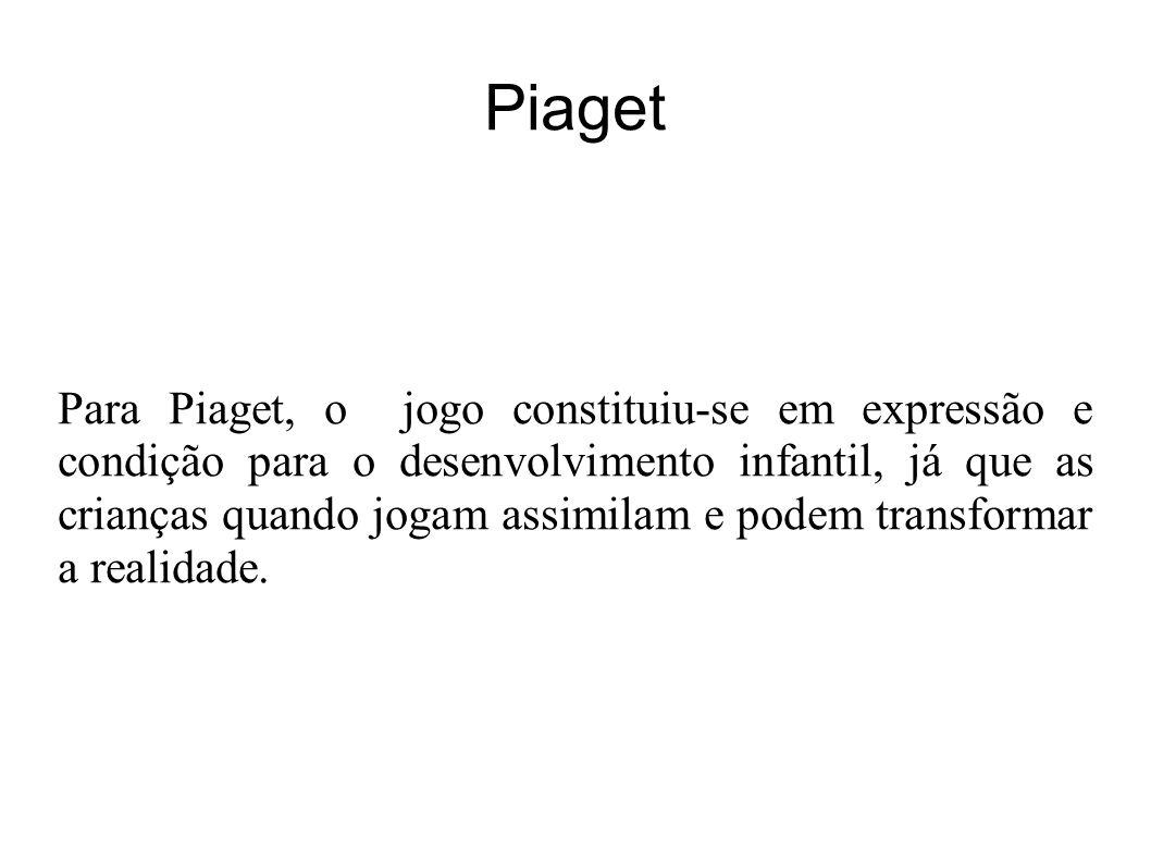 Piaget Para Piaget, o jogo constituiu-se em expressão e condição para o desenvolvimento infantil, já que as crianças quando jogam assimilam e podem transformar a realidade.