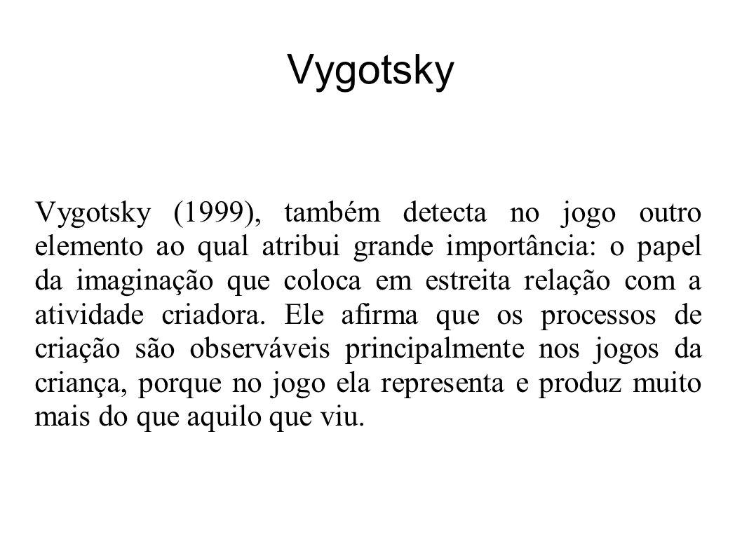 Vygotsky Vygotsky (1999), também detecta no jogo outro elemento ao qual atribui grande importância: o papel da imaginação que coloca em estreita relação com a atividade criadora.
