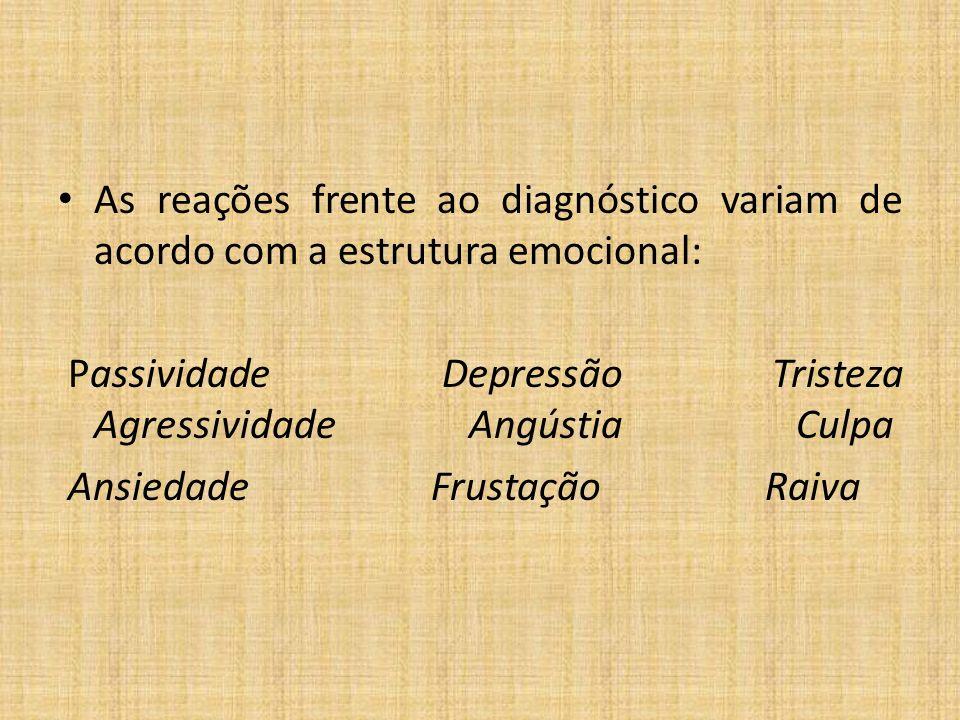 As reações frente ao diagnóstico variam de acordo com a estrutura emocional: Passividade Depressão Tristeza Agressividade Angústia Culpa Ansiedade Frustação Raiva