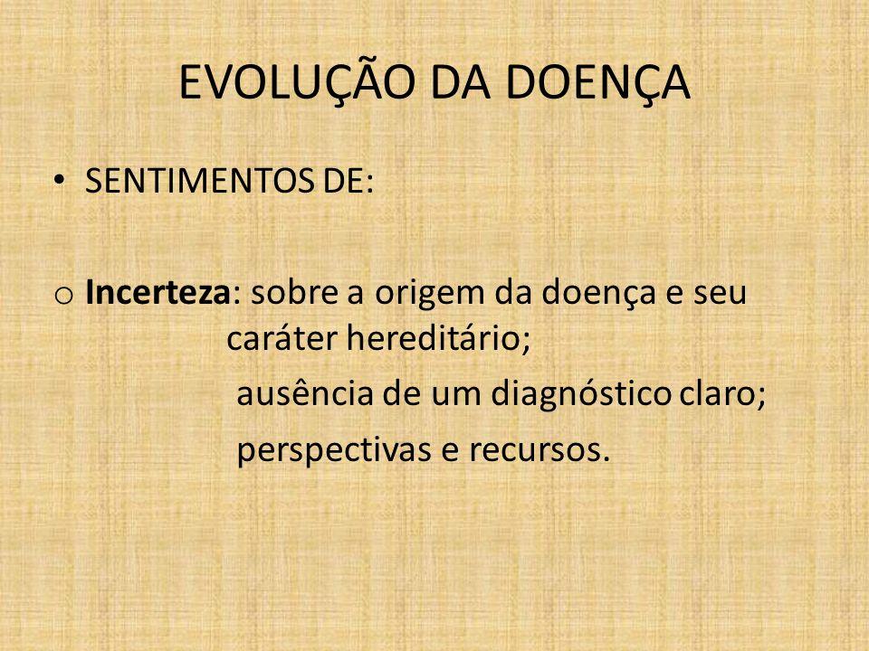 EVOLUÇÃO DA DOENÇA SENTIMENTOS DE: o Incerteza: sobre a origem da doença e seu caráter hereditário; ausência de um diagnóstico claro; perspectivas e recursos.