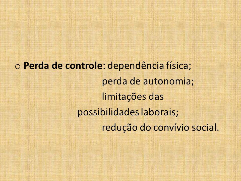 o Perda de controle: dependência física; perda de autonomia; limitações das possibilidades laborais; redução do convívio social.