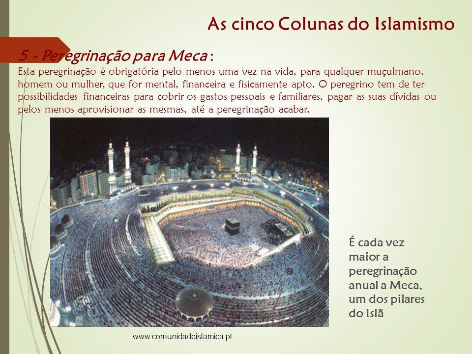 É cada vez maior a peregrinação anual a Meca, um dos pilares do Islã 5 - Peregrinação para Meca : Esta peregrinação é obrigatória pelo menos uma vez na vida, para qualquer muçulmano, homem ou mulher, que for mental, financeira e fisicamente apto.