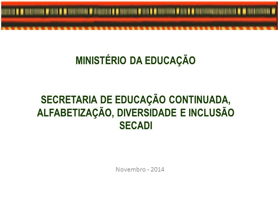 MINISTÉRIO DA EDUCAÇÃO SECRETARIA DE EDUCAÇÃO CONTINUADA, ALFABETIZAÇÃO, DIVERSIDADE E INCLUSÃO SECADI Novembro - 2014