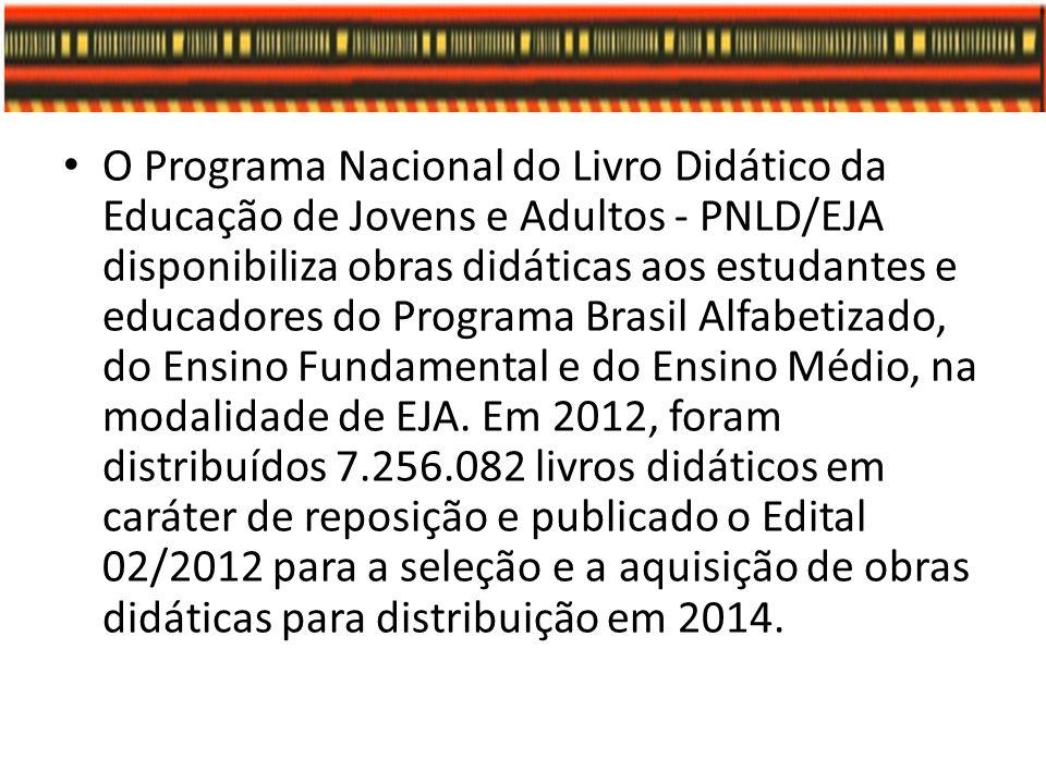 O Programa Nacional do Livro Didático da Educação de Jovens e Adultos - PNLD/EJA disponibiliza obras didáticas aos estudantes e educadores do Programa