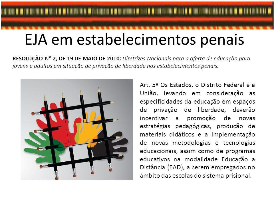 EJA em estabelecimentos penais RESOLUÇÃO Nº 2, DE 19 DE MAIO DE 2010: Diretrizes Nacionais para a oferta de educação para jovens e adultos em situação