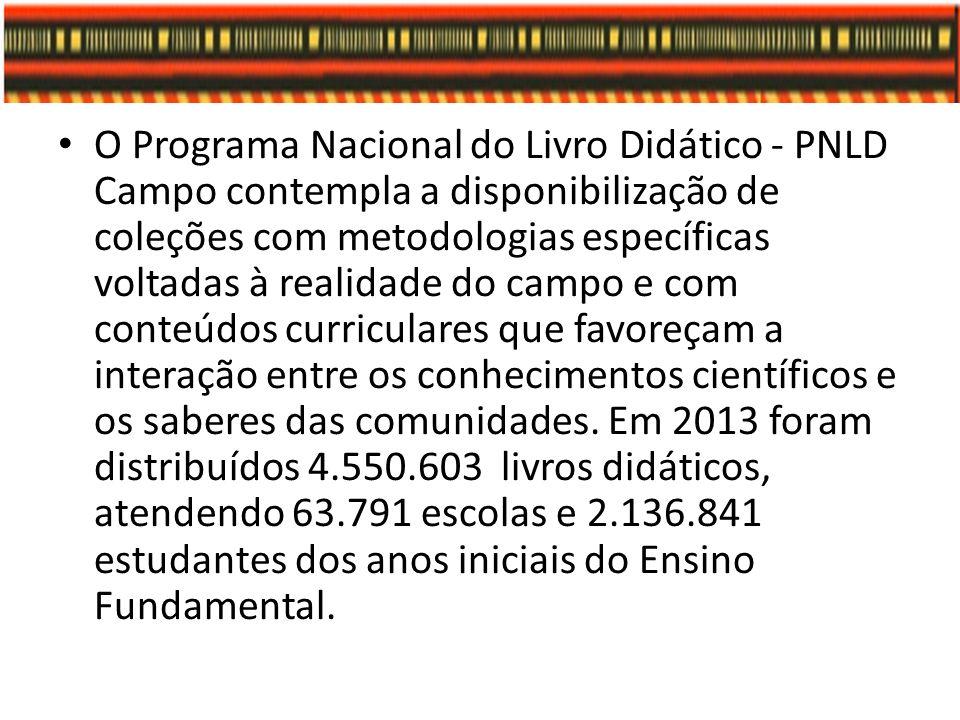 O Programa Nacional do Livro Didático - PNLD Campo contempla a disponibilização de coleções com metodologias específicas voltadas à realidade do campo